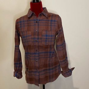 North Face Maroon and Blue plaid long sleeve shirt